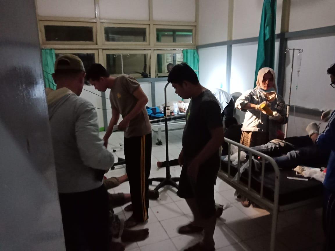 Kecelakaan tunggal BUS Sekolah milik PT Limpah di Pangkalan Suka langsung ditangani petugas Polri.