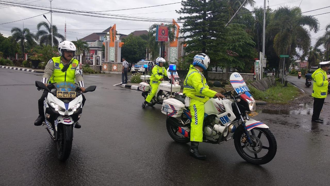 Pengawalan berjalan lancar dalam rangka Kunker Kapolda dan Rombongan Porkopimda Provinsi