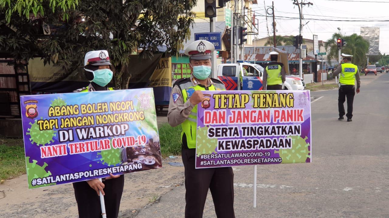Cegah Wabah Corona, Satlantas Polres Ketapang Gunakan Papan Himbauan dan Banner