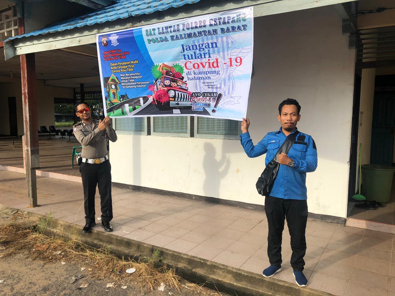 Antisipasi Lonjakan Mudik, Sat Lantas Polres Ketapang Pasang Spanduk Tunda Mudik