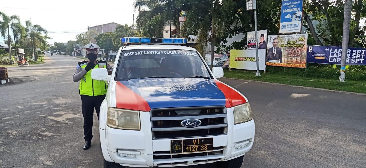 Himbaun Masyarakat untuk tetap Wapada terhadap Penyebaran Virus Covid-19, Satlantas Ketapang terus L
