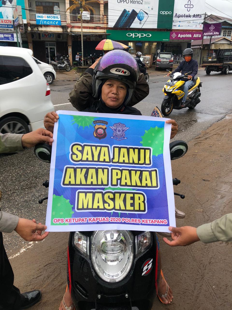 Pengendara Tak Gunakan Masker Dirazia Petugas Satlantas Polres Ketapang