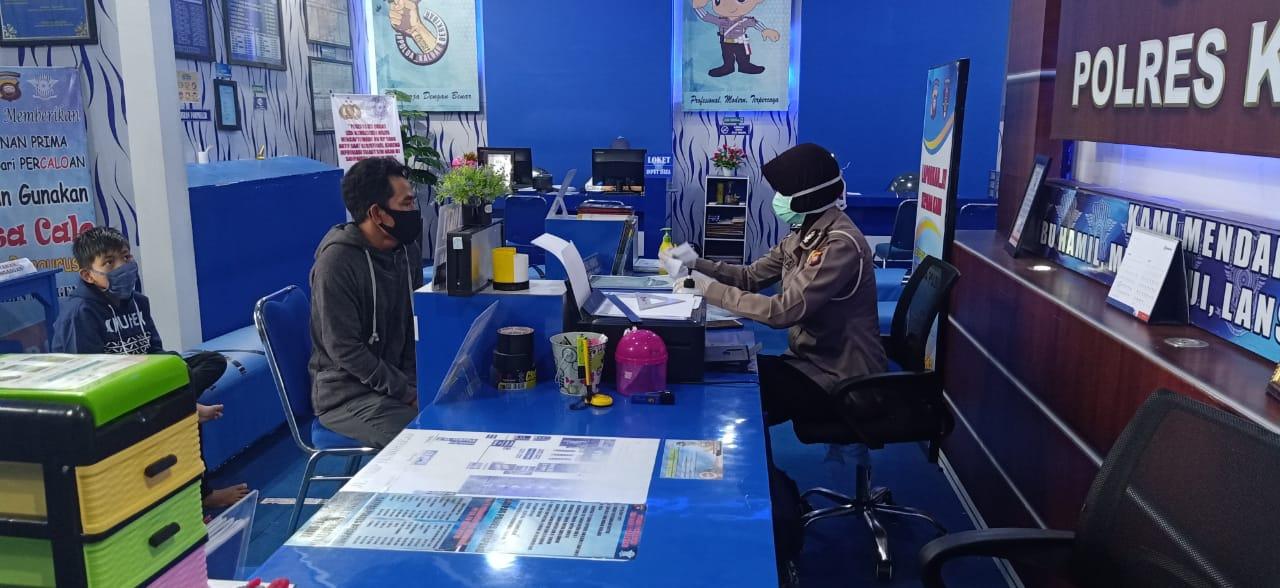 Cegah Corona, Sat Lantas Ketapang Terapkan Social Distancing Satpas SIM