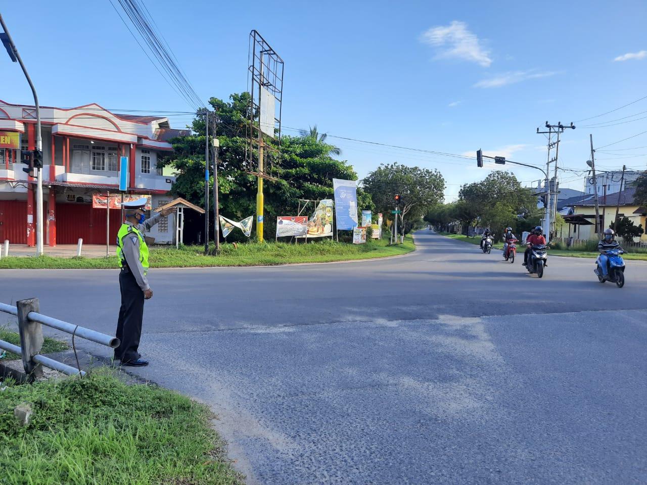 Satlantas Polres Ketapang, Pengaturan Lantas Pagi Hari Saat Jam Sibuk