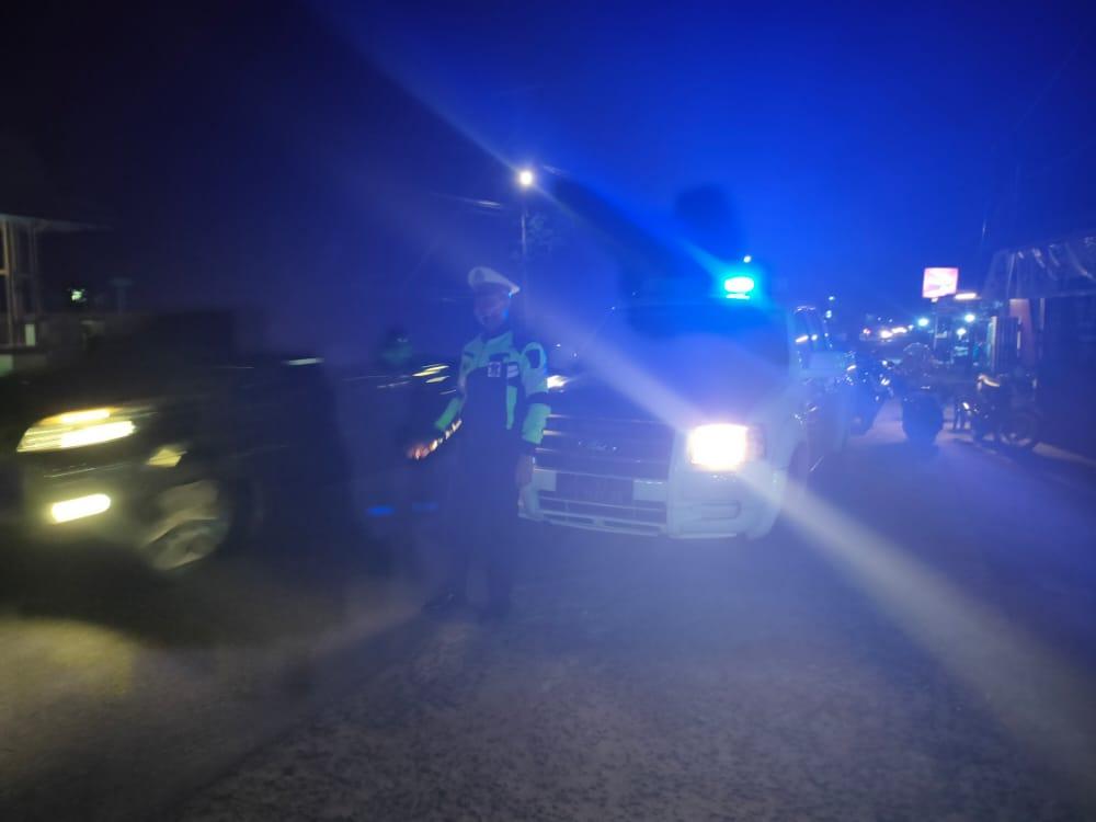 Sat Lantas Melaksanakan giat BLP (Blue Light Patrol)